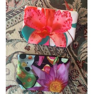 Bundle of Two Floral Neiman Marcus Cosmetic Bags